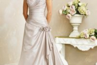 a-line silver strapless wedding gown with long train
