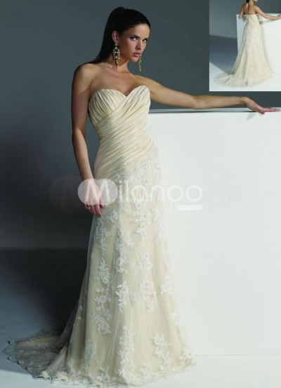 a-line strapless chapel train lace satin wedding gown
