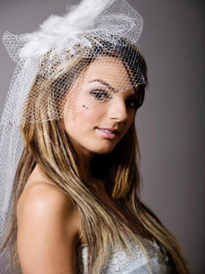 birdcage wedding veils with long blond hair
