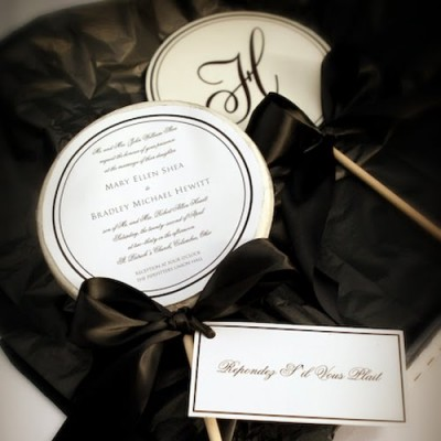 black and white wedding invitation cards