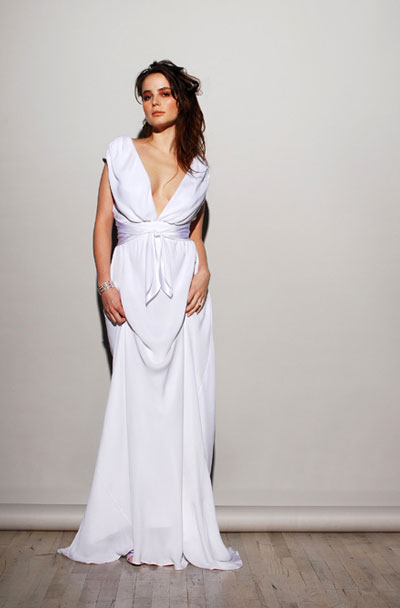 casual white sheath wedding dress