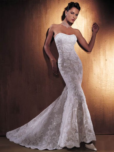 embroidered silk mermaid wedding gown
