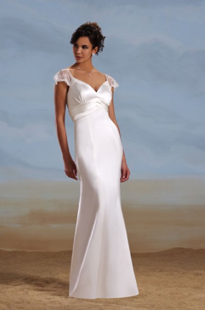 lace v-neck corset sheath wedding gown