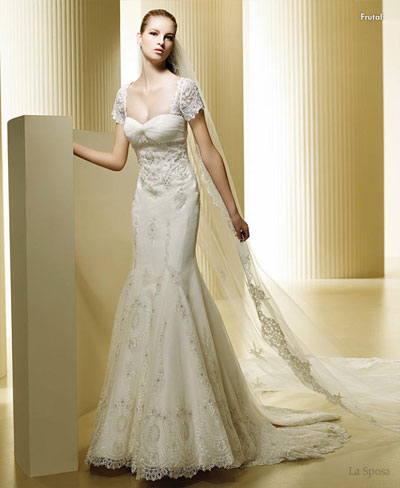 short sleeve mermaid wedding gown
