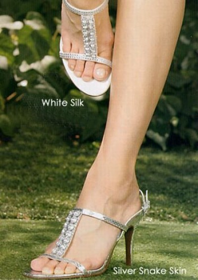 silk silver bridal shoes