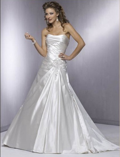 organza strapless a-line wedding gown