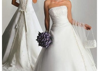 strapless a-line wedding gowns with corset