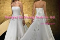silver strapless a-line wedding gowns