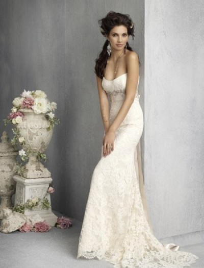 strapless embroidered silk sheath wedding gown