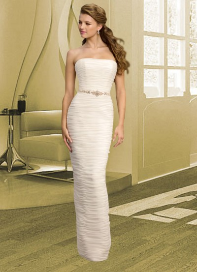 strapless sheath wedding gown