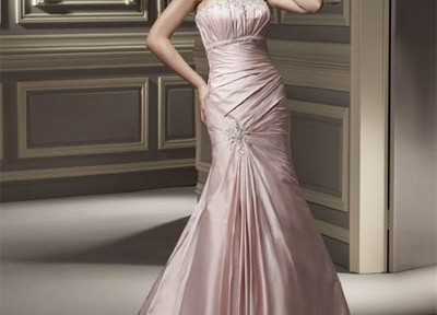 strapless silk empire waist wedding gown