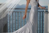 v-neck silver sheath wedding gown