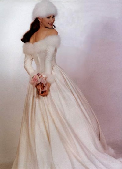 winter wedding dress with long train