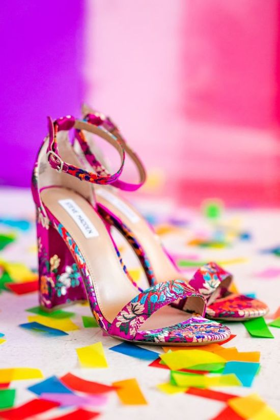 Colorful High Heeled Wedding Shoes