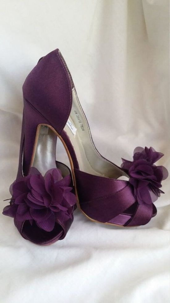 Plum Fall High Heeled Wedding Shoes