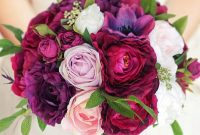 Wedding Hand Bouquet with Red Purple and Pink Flowers