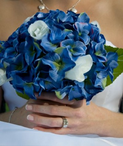blue hydrangea wedding bouquets