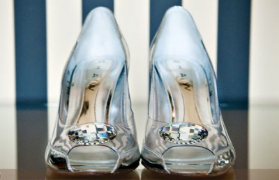 cinderella glass wedding shoes