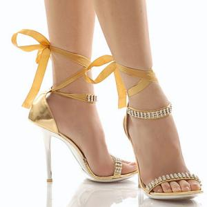 gold stiletto high heels