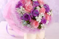 purple and peach roses wedding hand bouquet