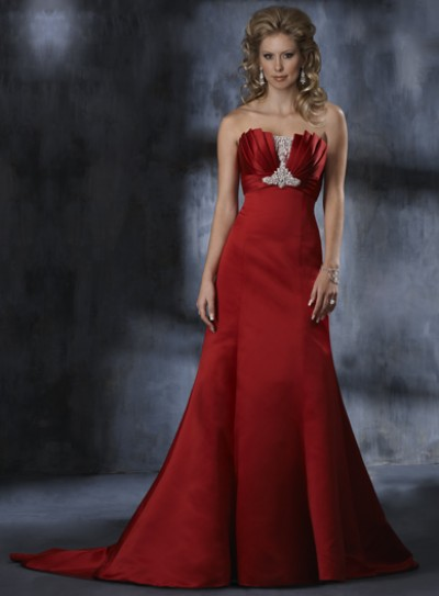 red mermaid wedding dresses with a chapel train