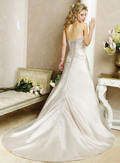 satin silver a-line wedding dresses