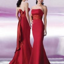satin strapless empire bodice with mermaid style red bridesmaid dresses