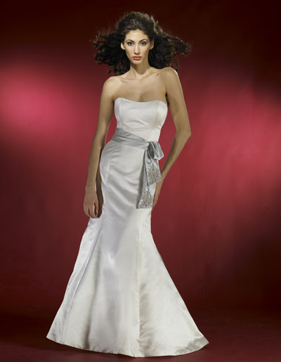 silver strapless mermaid wedding dress