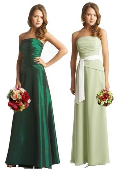 strapless green bridesmaid dresses