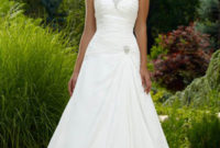 strapless satin a-line wedding dress