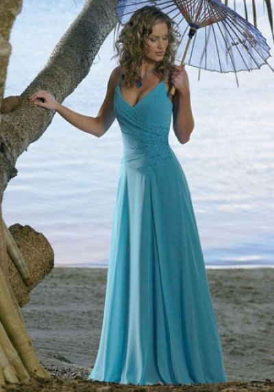 v-neck blue bridesmaid dresses