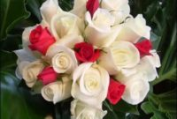 white and red roses wedding hand bouquet