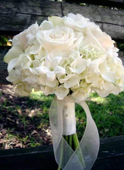 white roses wedding hand bouquet