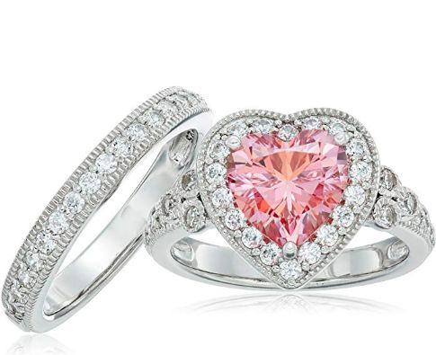 Antique Platinum Plated Sterling Silver Heart Shape Wedding Ring Set With Swarovski Zirconia