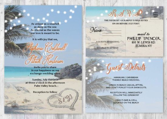 Beach Wedding Destination Invitation Set