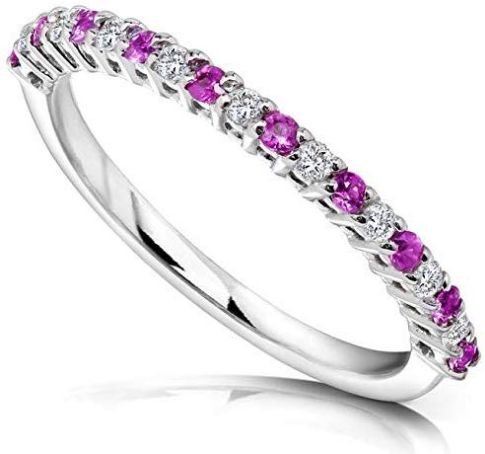 Diamond And Pink Sapphire Wedding Ring In Platinum