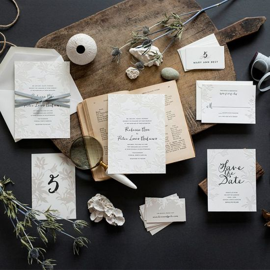 Lima Letterpress Wedding Invitation Suite With Charcoal And Transparent Ink Details