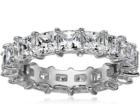 Platinum Plated Sterling Silver Princess Cut Wedding Ring With Swarovski Zirconia