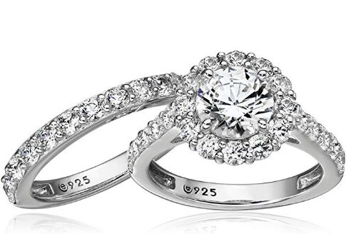 Platinum Plated Sterling Silver Wedding Ring Set