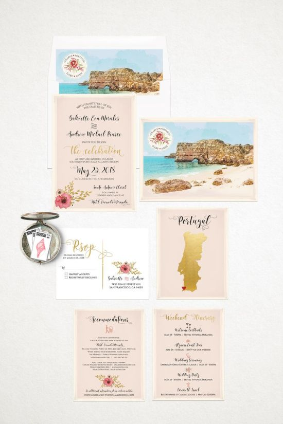 Portugal Algarve Coast Beach Destination Wedding Invitation