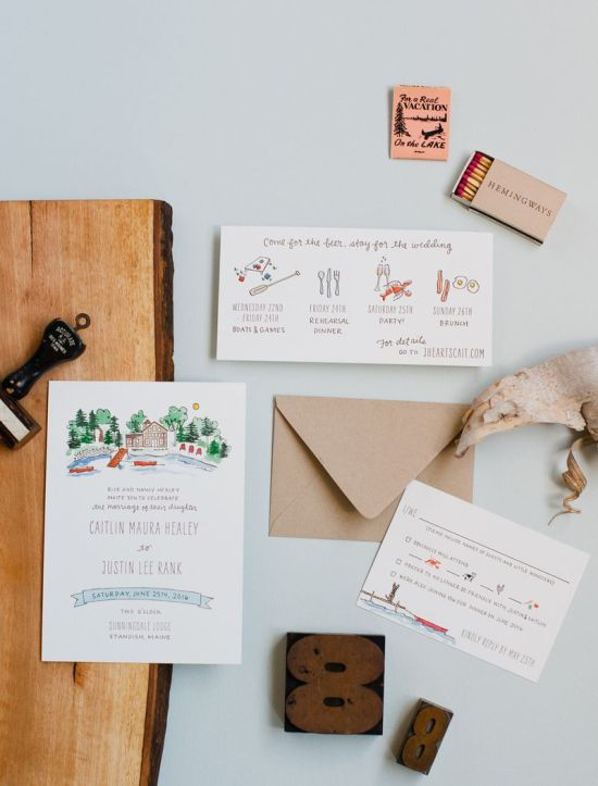 Redwood Hand-Illustrated And Lettered Wedding Invitation Suite