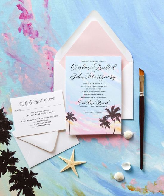 Tropical Sunset Beach Wedding Invitation With Original Art By Michelle Mospens