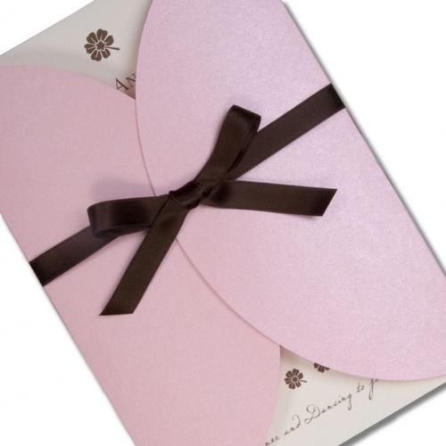 chocolate and pink wedding invitation pictures