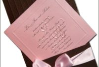 chocolate and pink wedding invitations