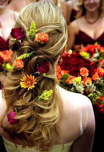 long wedding hairstyle with flowers