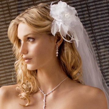 long wedding hairstyle with veil
