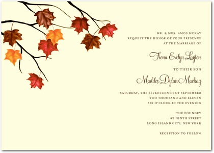 simple fall wedding invitations