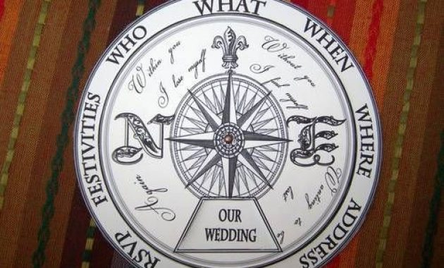 unique compass wedding invitation idea