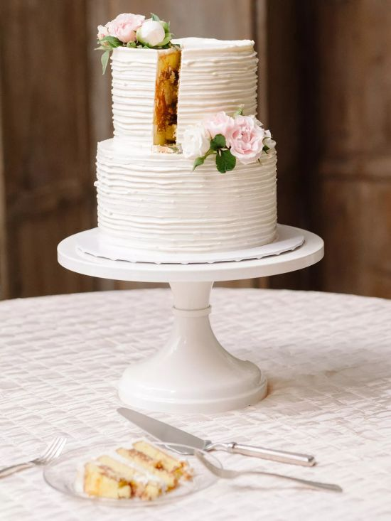 Simple Round White Wedding Cake With Raw Edges