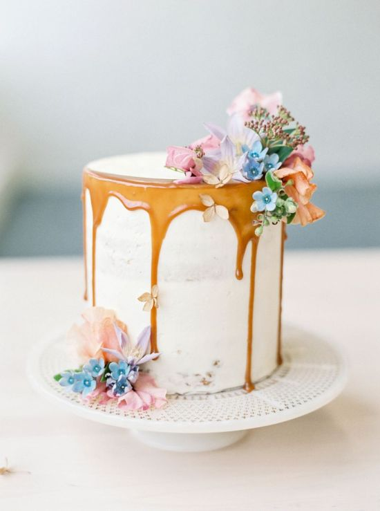 Spring Wedding Theme Idea With A Sweet Drip Cake